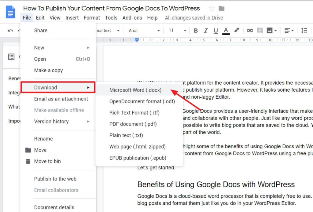 How To Publish Your Content From Google Docs To WordPress 2