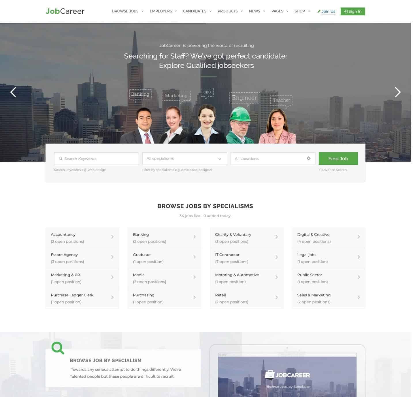 JobCareer WordPress Theme